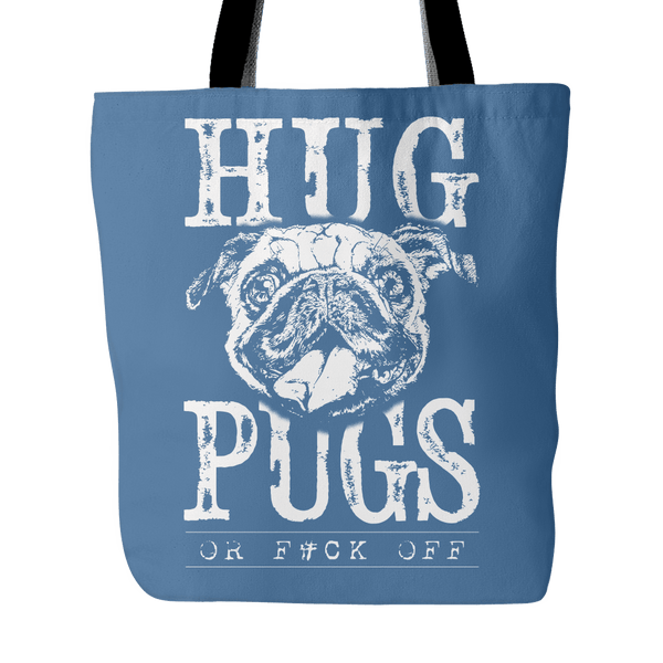 Hug Pugs Tote Bag - the passionate pug - Denim Blue - 3