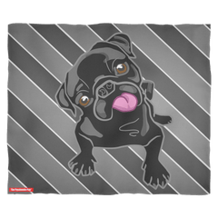 Black Pug Puppy Striped Fleece Blanket