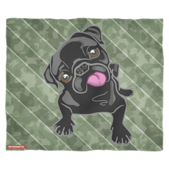Black Pug Puppy Camo Fleece Blanket