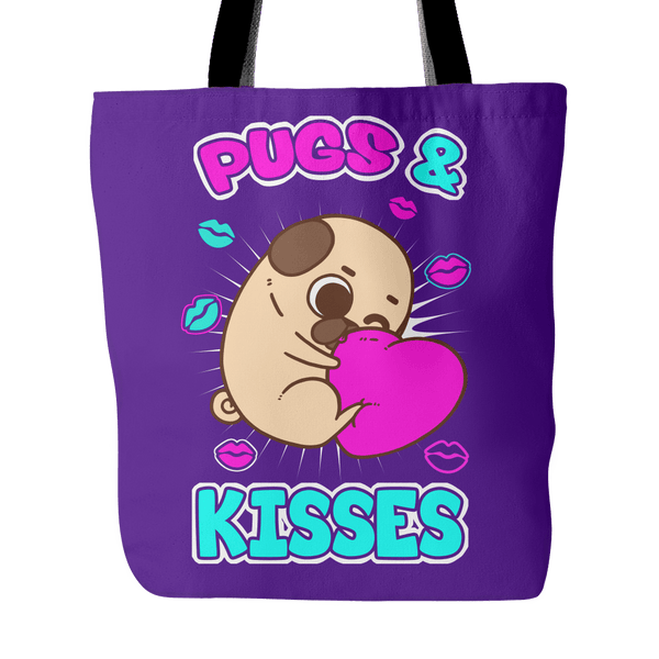 Pugs And Kisses Tote Bag - thepassionatepug - Purple - 2
