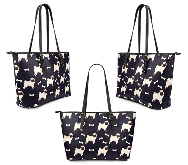 Pugs All Over Large Leather Tote
