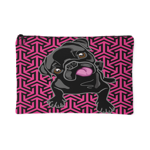 Black Pug Makeup Pouch Pink Arrows
