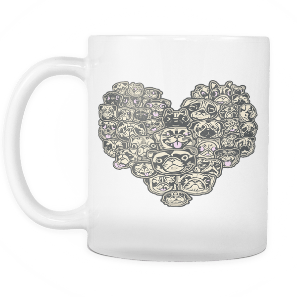 Heart Of Pugs White Mug - the passionate pug -  - 2
