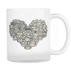Heart Of Pugs White Mug - the passionate pug - White - 1