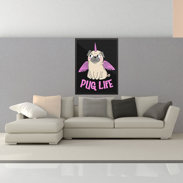Pug Life With Wings Wall Art - the passionate pug - 18×24 - 2