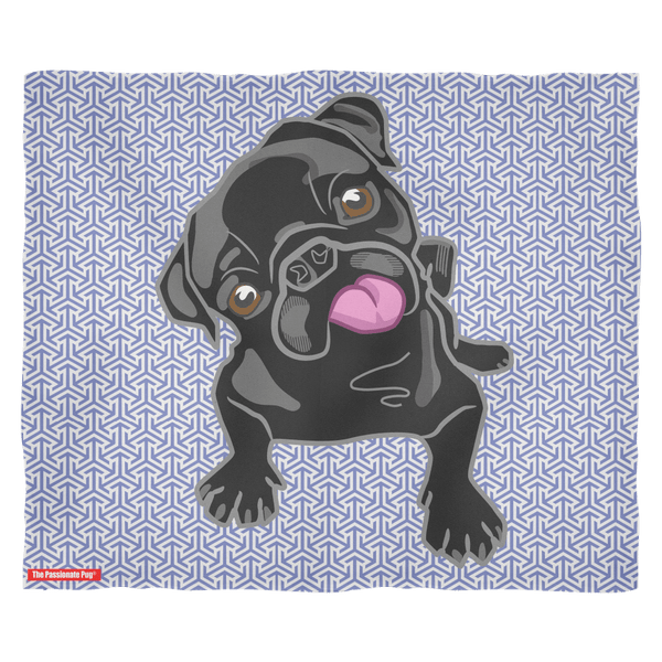 Black Pug Puppy Premium Fleece Blanket
