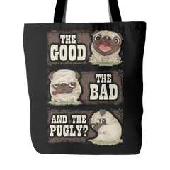 The Good The Bad & The Pugly Tote Bag - thepassionatepug - Black