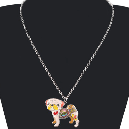 Women's What The Pug? Enamel Necklace