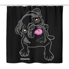 Black Pug Shower Curtain