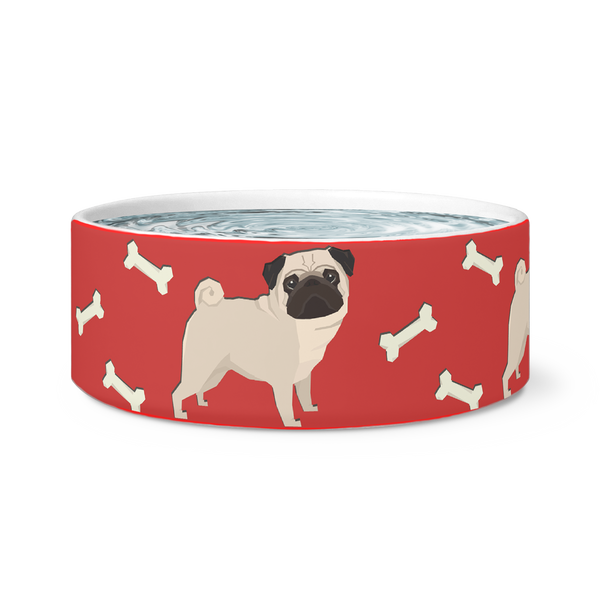 Pugs All Over Dog Bowl