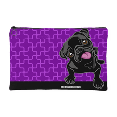 Black Pug Makeup Pouch Grape