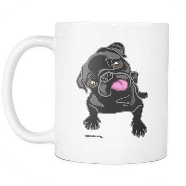 Black Pug White Coffee Mug