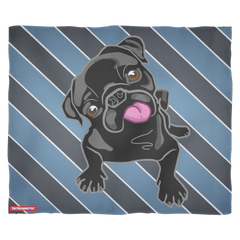 Black Pug Puppy Blue Striped Fleece Blanket