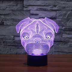 The Passionate Pug 3D LED Illusion Lamp