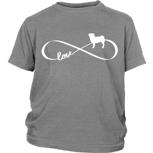 Love Pug Infinity Kids T-shirt - the passionate pug - District Youth Shirt / Sport Grey / XS - 4