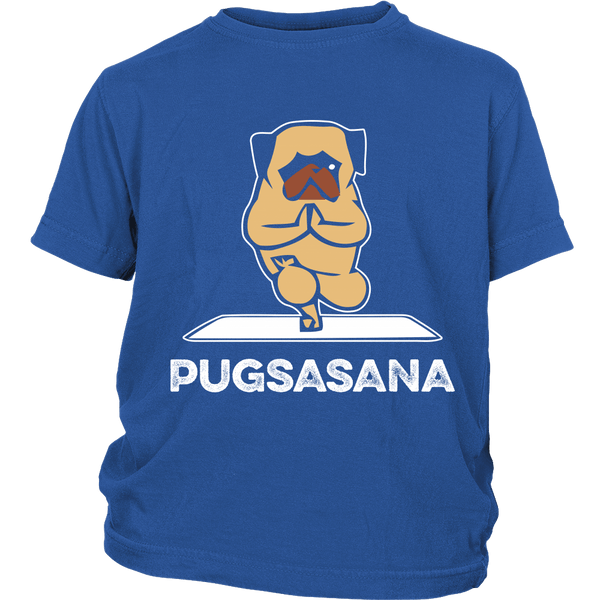 Pugsasana Kids T-shirt - the passionate pug - District Youth Shirt / Royal Blue / XS - 1
