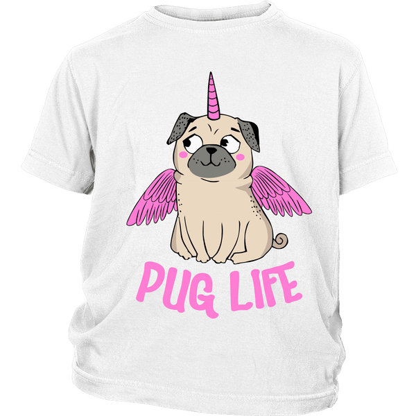 Pug With Wings Kids T-shirt - the passionate pug - District Youth Shirt / White / XS - 1