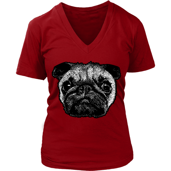Women's Pug Face T-shirt - thepassionatepug - District Womens V-Neck / Red / S - 3