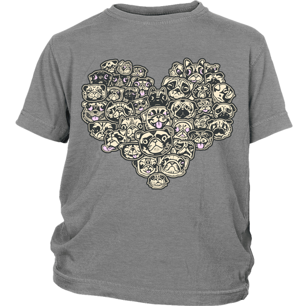 Heart Of Pugs Kids T-shirt - the passionate pug - District Youth Shirt / Sport Grey / XS - 5