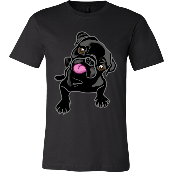 Men's Black Pug T-shirt - thepassionatepug - Canvas Mens Shirt / Black / S - 1