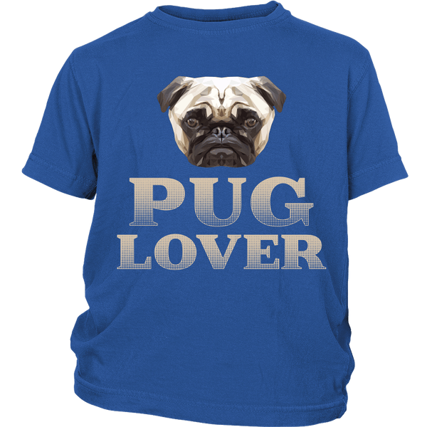 Pug Lover Kids T-shirt - the passionate pug - District Youth Shirt / Royal Blue / XS - 1