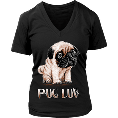 Women's Pug Luv T-shirt - the passionate pug - District Womens V-Neck / Black / S - 10