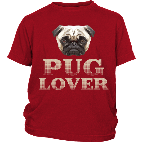 Pug Lover Kids T-shirt - the passionate pug - District Youth Shirt / Red / XS - 2
