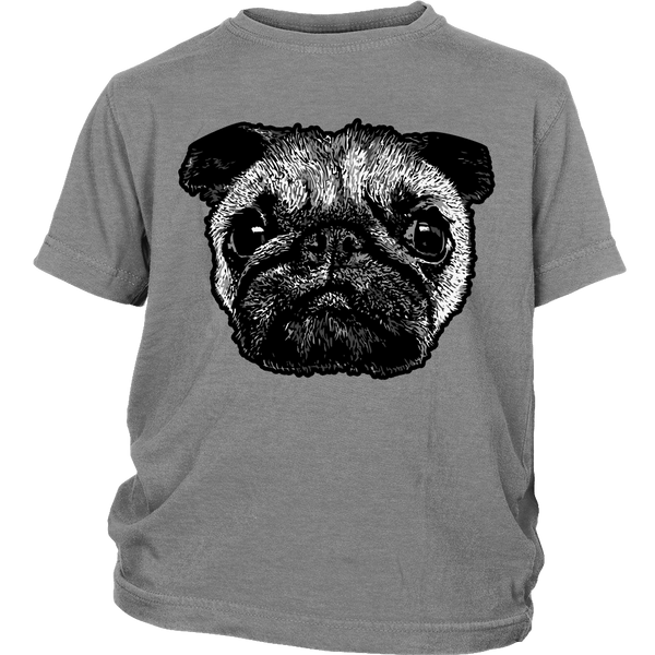 Pug Face Kids T-shirt - the passionate pug - District Youth Shirt / Sport Grey / XS - 5