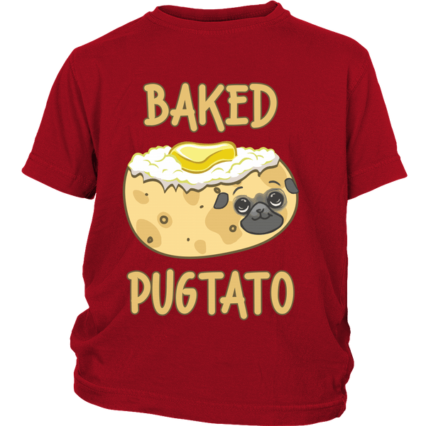 Baked Pugtato Kids T-shirt - the passionate pug - District Youth Shirt / Red / XS - 3