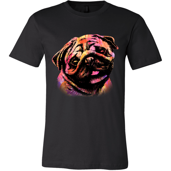 Men's Watercolor Pug T-shirt - thepassionatepug - Canvas Mens Shirt / Black / S - 1