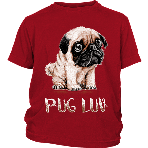 Pug Luv Kids T-shirt - the passionate pug - District Youth Shirt / Red / XS - 3