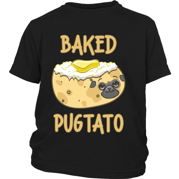 Baked Pugtato Kids T-shirt - the passionate pug - District Youth Shirt / Black / XS - 4