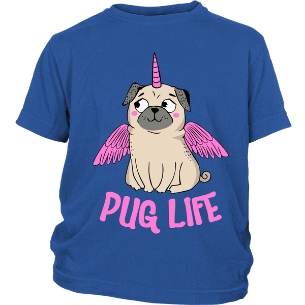 Pug With Wings Kids T-shirt - the passionate pug - District Youth Shirt / Royal Blue / XS - 2