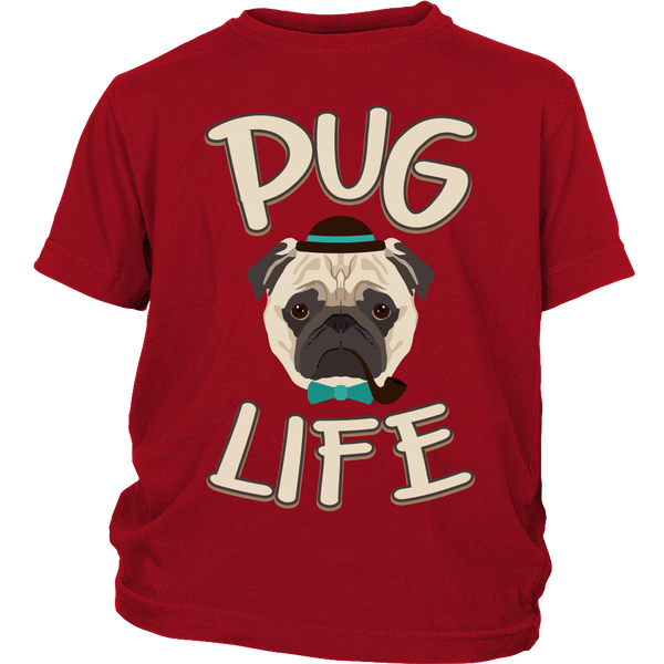 Pug Life Kids T-shirt - the passionate pug - District Youth Shirt / Red / XS - 3