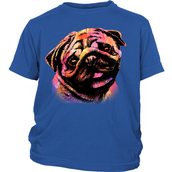 Watercolor Pug Kids T-shirt - the passionate pug - District Youth Shirt / Royal Blue / XS - 2