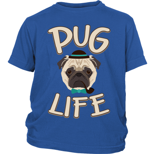 Pug Life Kids T-shirt - the passionate pug - District Youth Shirt / Royal Blue / XS - 2