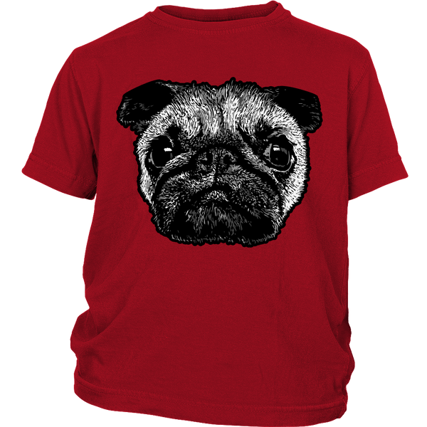 Pug Face Kids T-shirt - the passionate pug - District Youth Shirt / Red / XS - 3