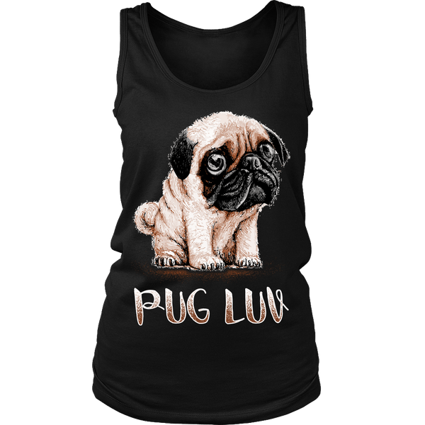 Women's Pug Luv T-shirt - the passionate pug - District Womens Tank / Black / S - 1