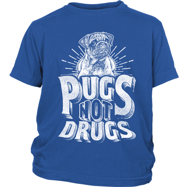 Pugs Not Drugs Kids T-shirt - the passionate pug - District Youth Shirt / Royal Blue / XS - 1