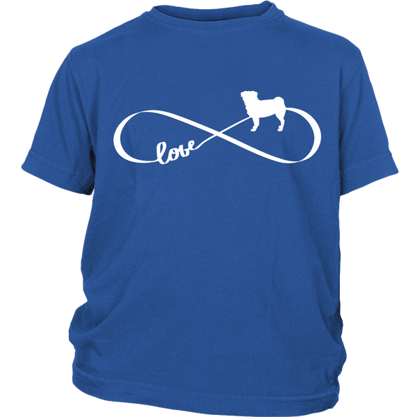 Love Pug Infinity Kids T-shirt - the passionate pug - District Youth Shirt / Royal Blue / XS - 1