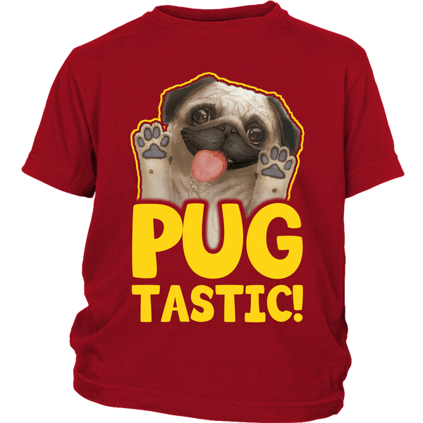 Pugtastic Kids T-shirt - the passionate pug - District Youth Shirt / Red / XS - 3