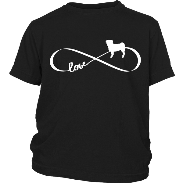 Love Pug Infinity Kids T-shirt - the passionate pug - District Youth Shirt / Black / XS - 3