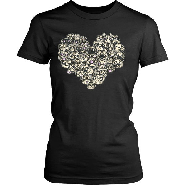 Women's Heart Full Of Pugs T-shirt - thepassionatepug - District Womens Shirt / Black / XS - 2