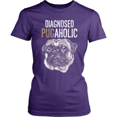 Women's Diagnosed Pugaholic T-shirt - thepassionatepug - District Womens Shirt / Purple / XS - 1