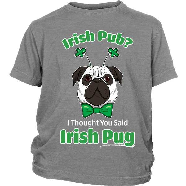 Irish Pug Kids T-shirt - the passionate pug - District Youth Shirt / Sport Grey / XS - 4