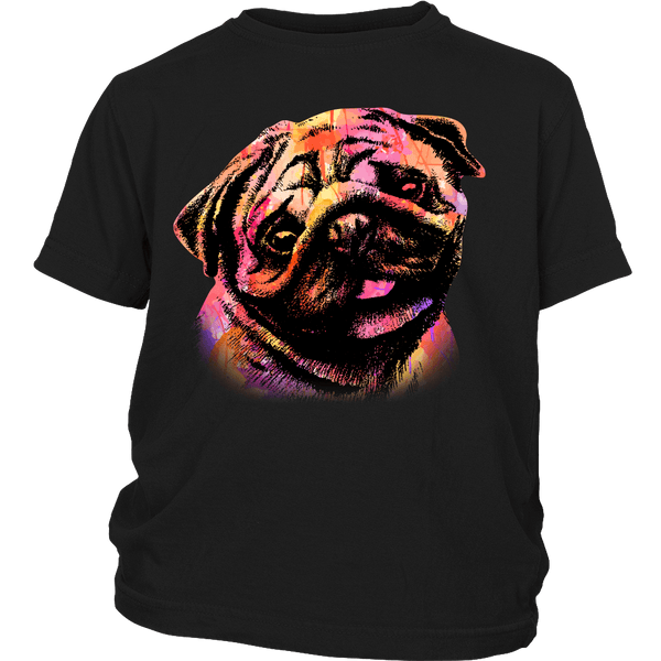 Watercolor Pug Kids T-shirt - the passionate pug - District Youth Shirt / Black / XS - 4