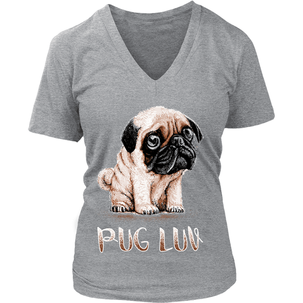 Women's Pug Luv T-shirt - the passionate pug - District Womens V-Neck / Grey / S - 11