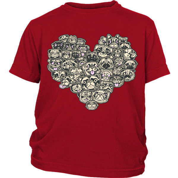 Heart Of Pugs Kids T-shirt - the passionate pug - District Youth Shirt / Red / XS - 3