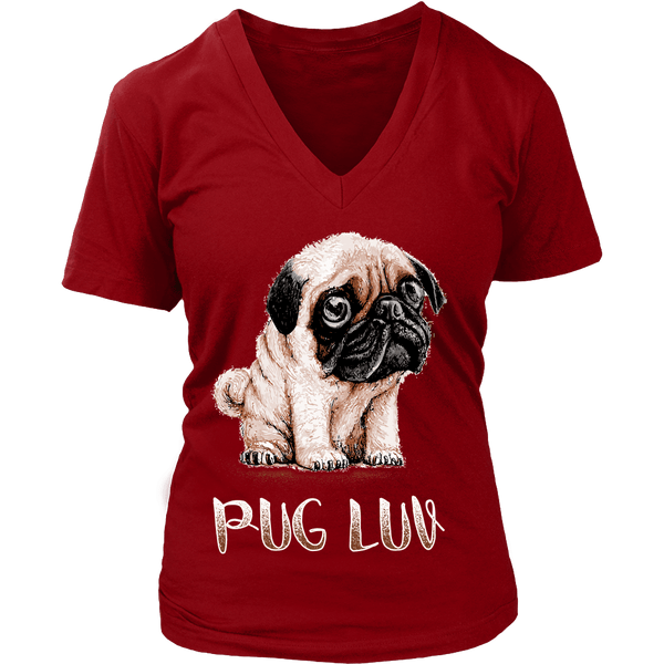 Women's Pug Luv T-shirt - the passionate pug - District Womens V-Neck / Red / S - 9