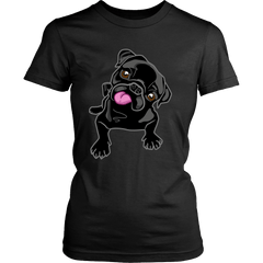 Women's Black Pug Puppy T-shirt - thepassionatepug - District Womens Shirt / Black / XS - 1